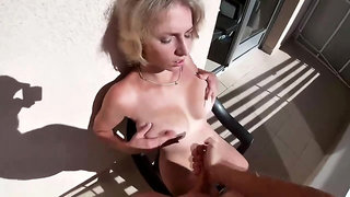Kinky nymph got smashed on the balcony in the middle of the day, until she came