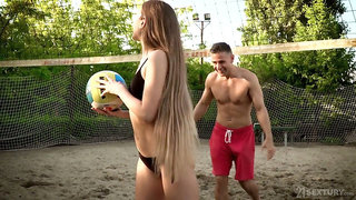 Sexy volleyball player Mary Rock gets her mouth and anus rammed in public