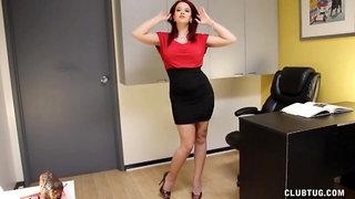 Office handjob with redhead pornstar Sarah Blake on her knees