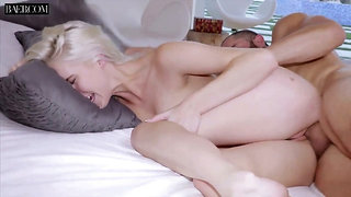 All natural too pale auburn GF Cadence Lux gets poked from behind hard