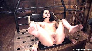 Master arse shag fucks dark hair girl babe at Kinks dungeon