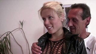 Pretty blond girl in body stocking fucked by another man