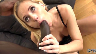 Black guy, Joachim Kessef got a blowjob from an experienced, white blonde, Klara and liked it