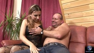 Chubby Old Pervert Has Fun With Succulent Blonde Hooker