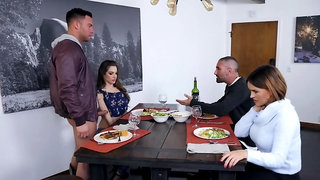 Dinner ends with threesome sex for girl and slutty busty stepmom