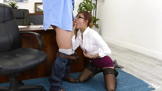 By-the-books woman Jade Jantzen gets wild in an office setting