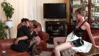 One hot babe does it with two mature lesbians