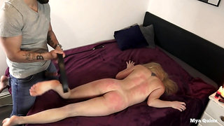 Mega-Slut Gets Wrecked - Stiff Face Smacking, Cootchie & Culo Flogging, Belt Slapping - Mya Quinn