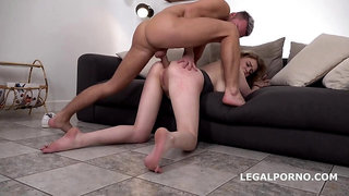 Rough butt fucking casting with Bella