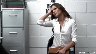Shoplifter Aila Donovan must fuck Marcus in the office
