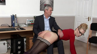 Kinky blonde secretary is getting spanked at work, because she was being a very naughty girl