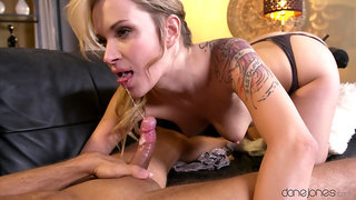 Valuable vixen Angel Piaff rubs cock with her feet during a hot fuck