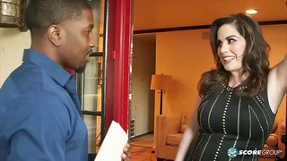 Voluptuous woman, Ciara Ryder is fucking a black guy and giving him a balls deep blowjob