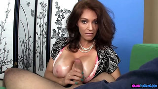 Dirty milf tugging on amateur cock