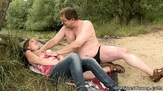 Cute teen gets groped and teased by a perverted old man outdoors