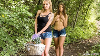 Two godlike hotties Sybil and Angel Piaff are kissing and fucking in the forest