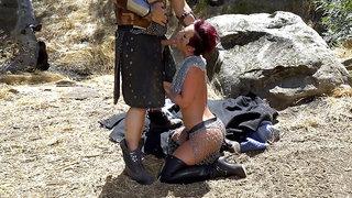 Jada Stevens jerking and sucking cock outdoors