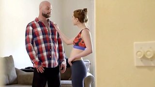 Cute redhead Pepper Hart rides dick with its deep penetration into anus
