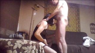 crossdresser fucked and handjob by a mature