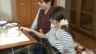Japanese stepmom bangs sonny under table