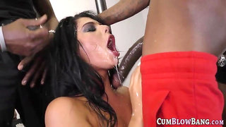 Flat chested whore blows black cocks