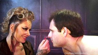 Busty domina Maitresse Madeline punishes slave in BDSM femdom