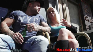 Dutch prostitute fingered outdoors