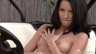 TeenModels - Suzy Black playing on a golf kart Suzy Bla