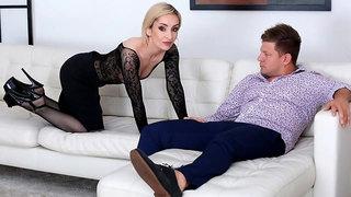 Sensual blonde in black high heels Di Devi fucked in her ass