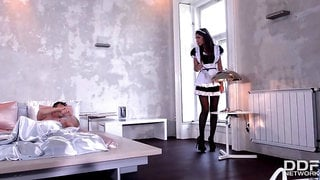 nurse blanche and maid alexis brill give a great footjob in stockings