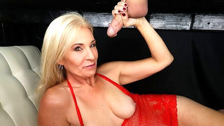 Sensual golden blonde Naughty Jojo is sucking a big dick