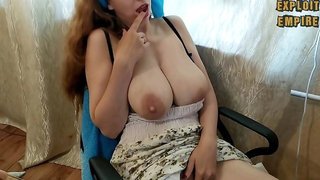 Milf sucks her milky saggy boobs and shakes them