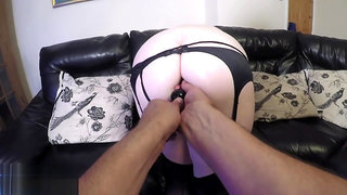 Big Tits PAWG Wife Takes Huge Anal Beads Up her Ass and Cums Hard - POV