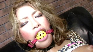 Japanese slut dominated and drilled with cock and sex toy