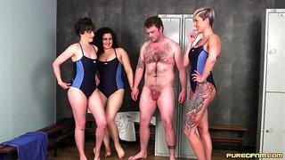 Swimsuit Babes Jerk Guy Off