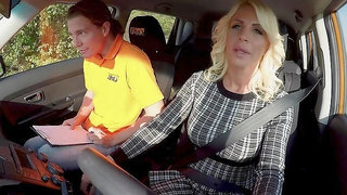 Mature learns how to drive and how to suck young cock