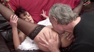 Aged thick knob fellow pounds the hot big boobs dark haired milf hard and rough