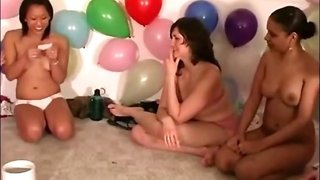 Teen at group party sucks pussy for their game
