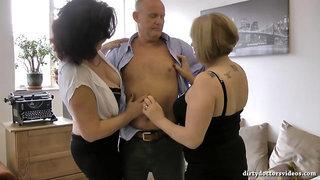 Whore Granny Threesome Porn Scene