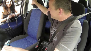 Beautiful long-legged passenger gets fucked by a fake driver