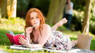 An astonishing redhead angel Ella Hughes fucked on the grass