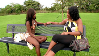Thick ebony mature is in for a spicy lesbo treat with a younger slut