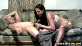 Stunning brunette hairjob and hair oral, highly long hair