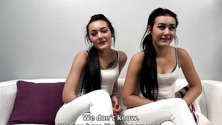 Cute twins are asked to go down on their knees and give a blowjob