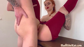 Tattooed red-haired with a hefty, obese rump is getting boinked from the back and wailing while spunking