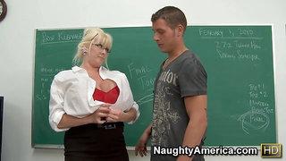 Kayla Kleevage - mature teacher with monster tits seduces student boy