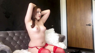 BTS Sexy Chubby Goddess D - Red Lingerie and Topless Real Photoshoot Model