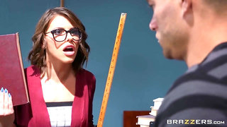 Noisy stud spanks sexy librarian right before fucking her