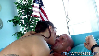 Strapon banging babe rides cock and gets cum