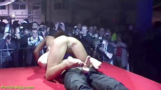real pornshow on public sexfair stage